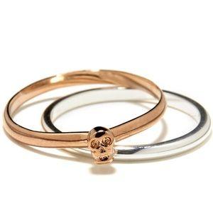 Bing Bang Tiny Skull Ring Set Rose Gold/Silver